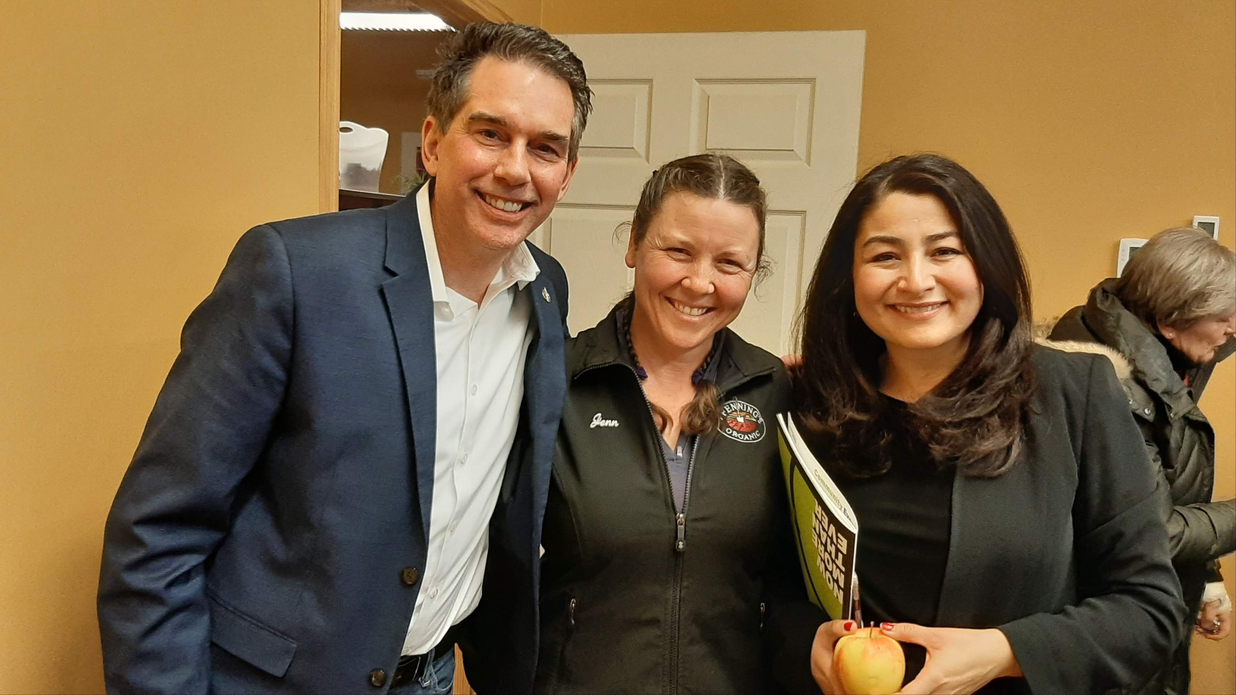Kitchener-Conestoga MP Tim Louis, who organized the roundtable discussion, with Wilmot councillor/farm owner Jenn Pfenning, and Maryam Monsef, federal Minister for Women and Gender Equality and Rural Economic Development.