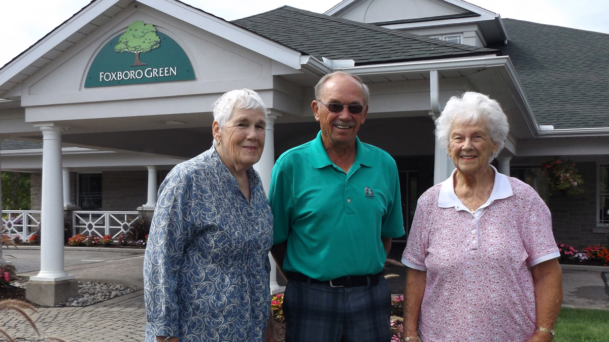 Firm Foxboro friends Margaret Lewis-Macdonald, Jim Arbuckle and Joan Roberts outside the condo community's recreation centre.