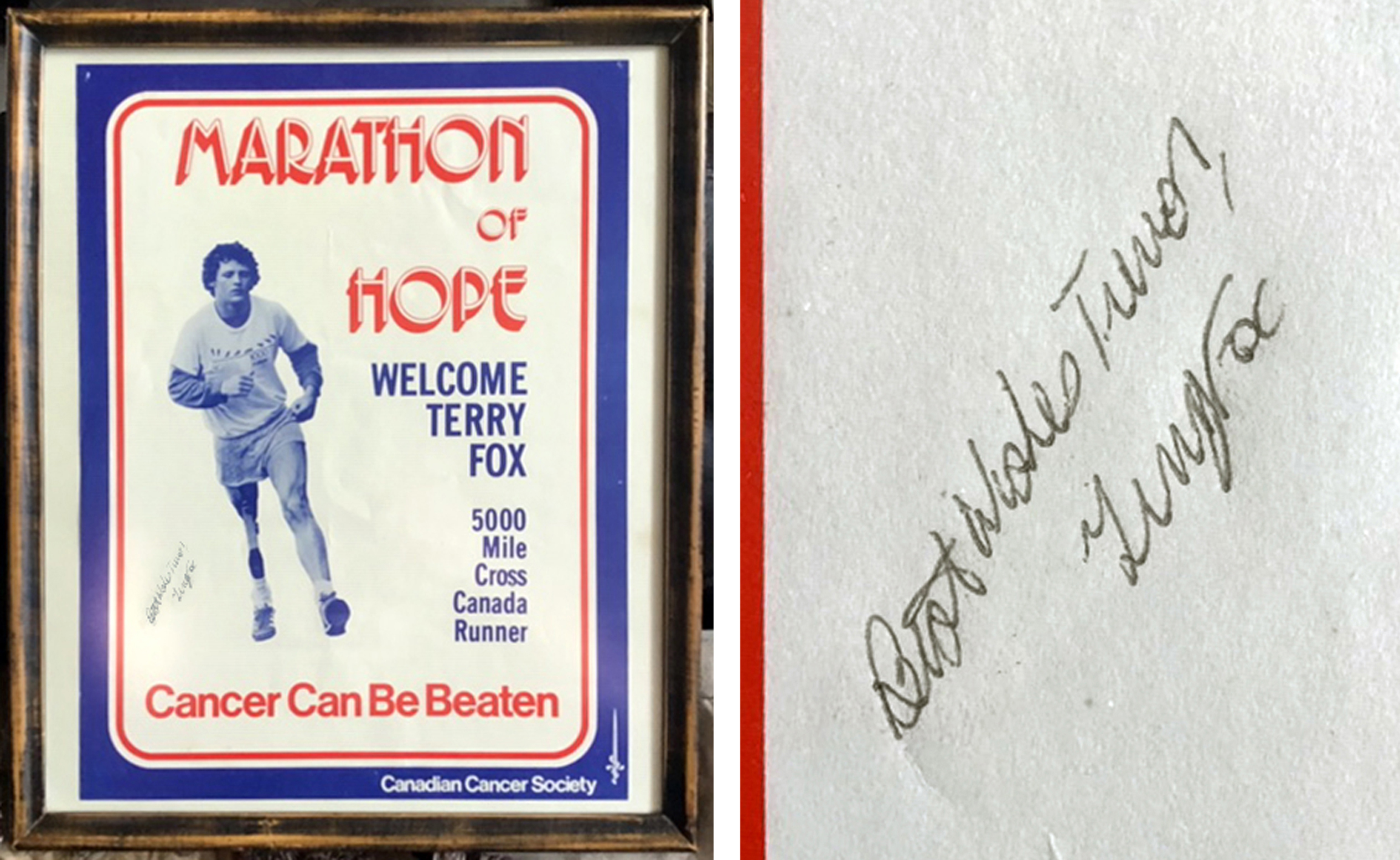 Marathon of Hope poster, autographed by Terry Fox and presented to Trevor Beck during Fox's visit to New Dundee on July 20, 1980. - Carolyn Hill/Photo